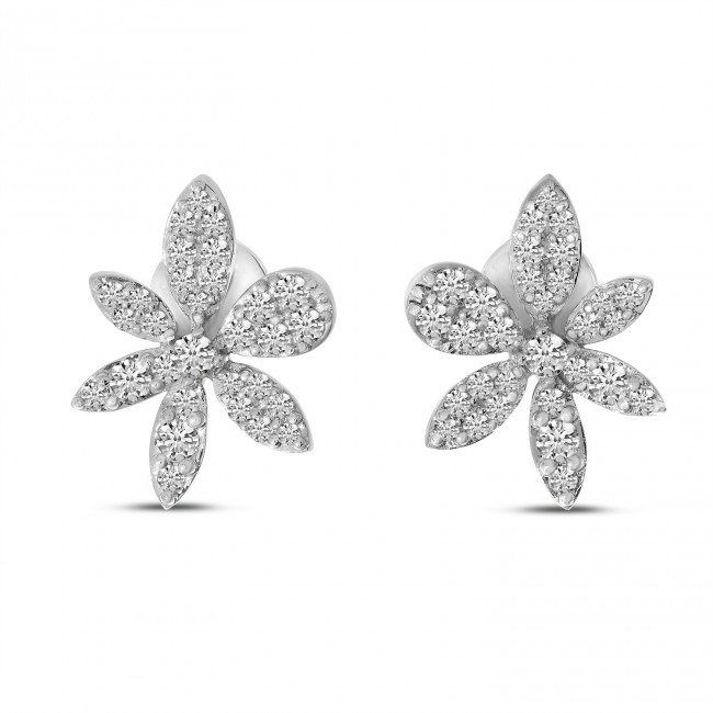 14K White Gold Diamond Flower Post Earrings