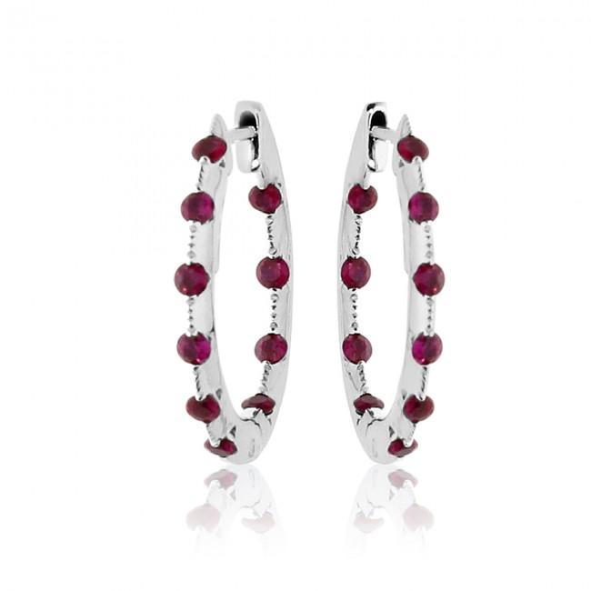 14K White Gold Tension Set Ruby Hoop Earrings
