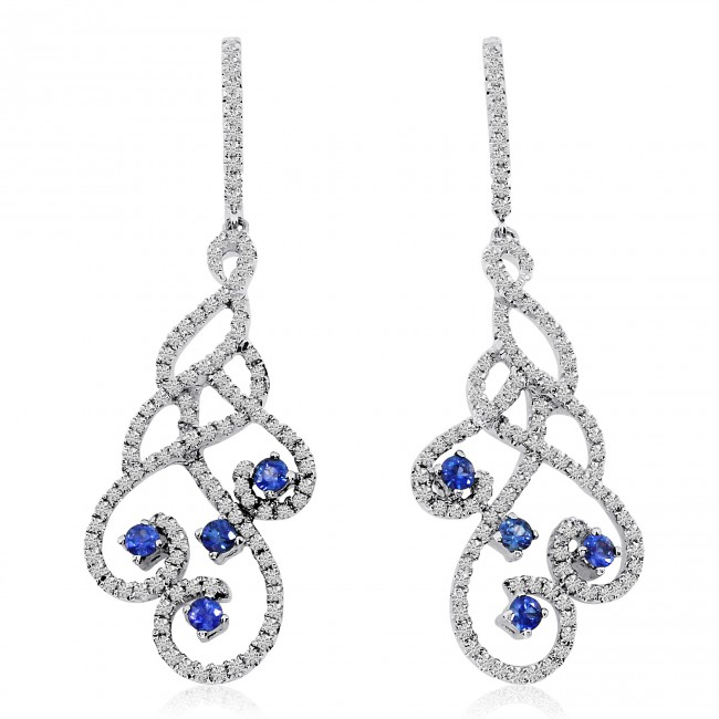 14K White Gold Precious Sapphire and .90 Ct Diamond Swirl Drop Fashion Earrings