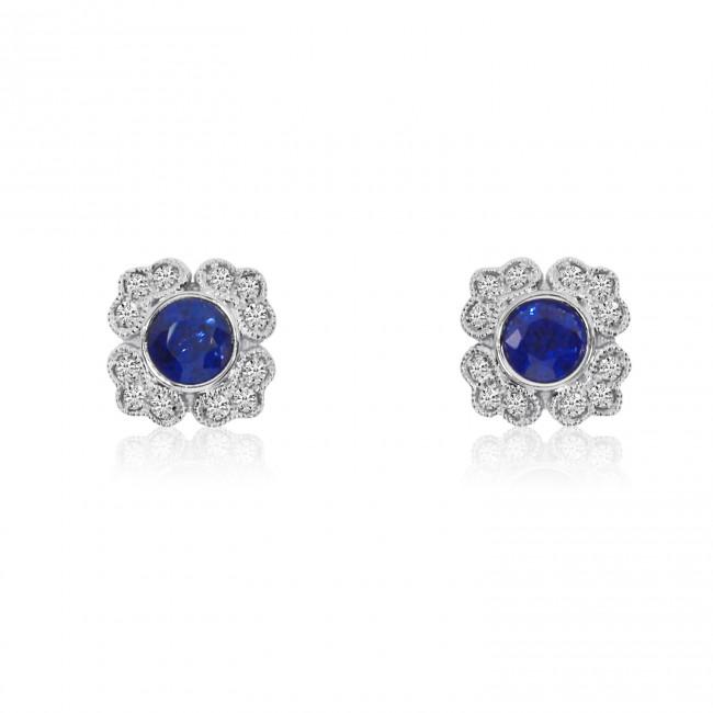 14K White Gold Round Sapphire and Diamond Filigree Precious Earrings