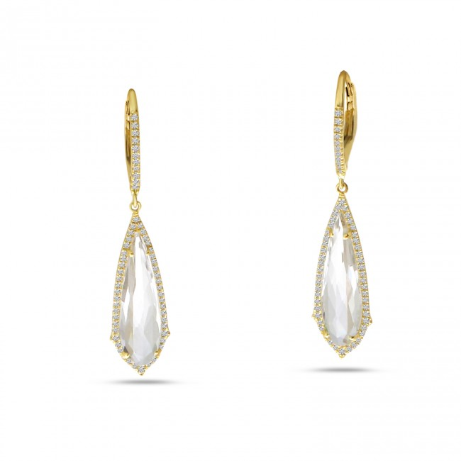 14K Yellow Gold Fancy Long White Topaz and Diamond Dangle Semi Precious Earrings