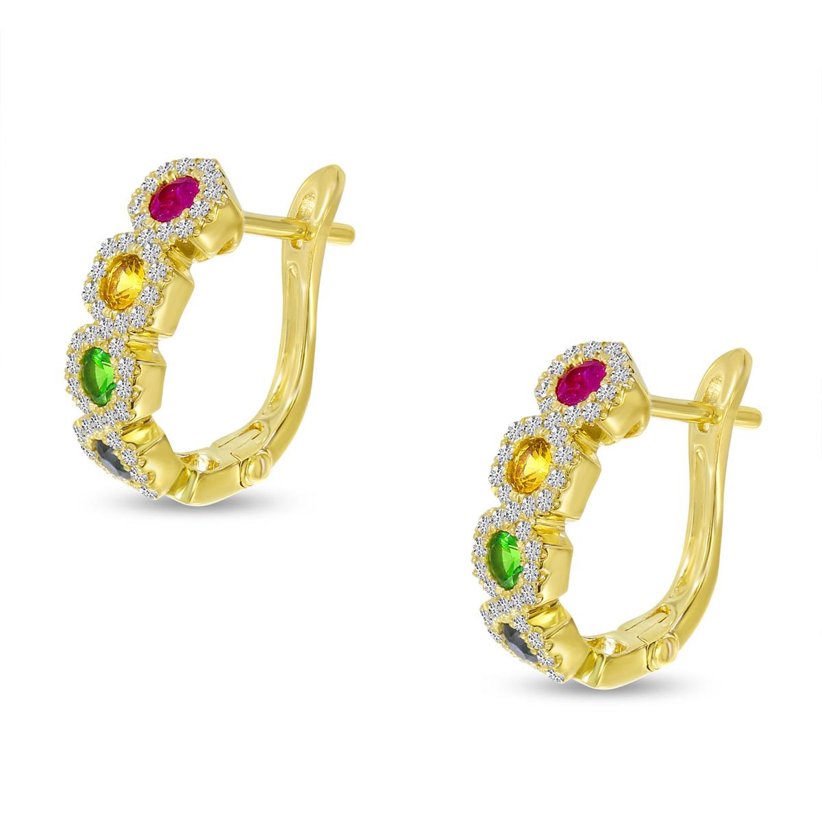 14K Yellow Gold Rainbow Sapphire Hexagon Earrings