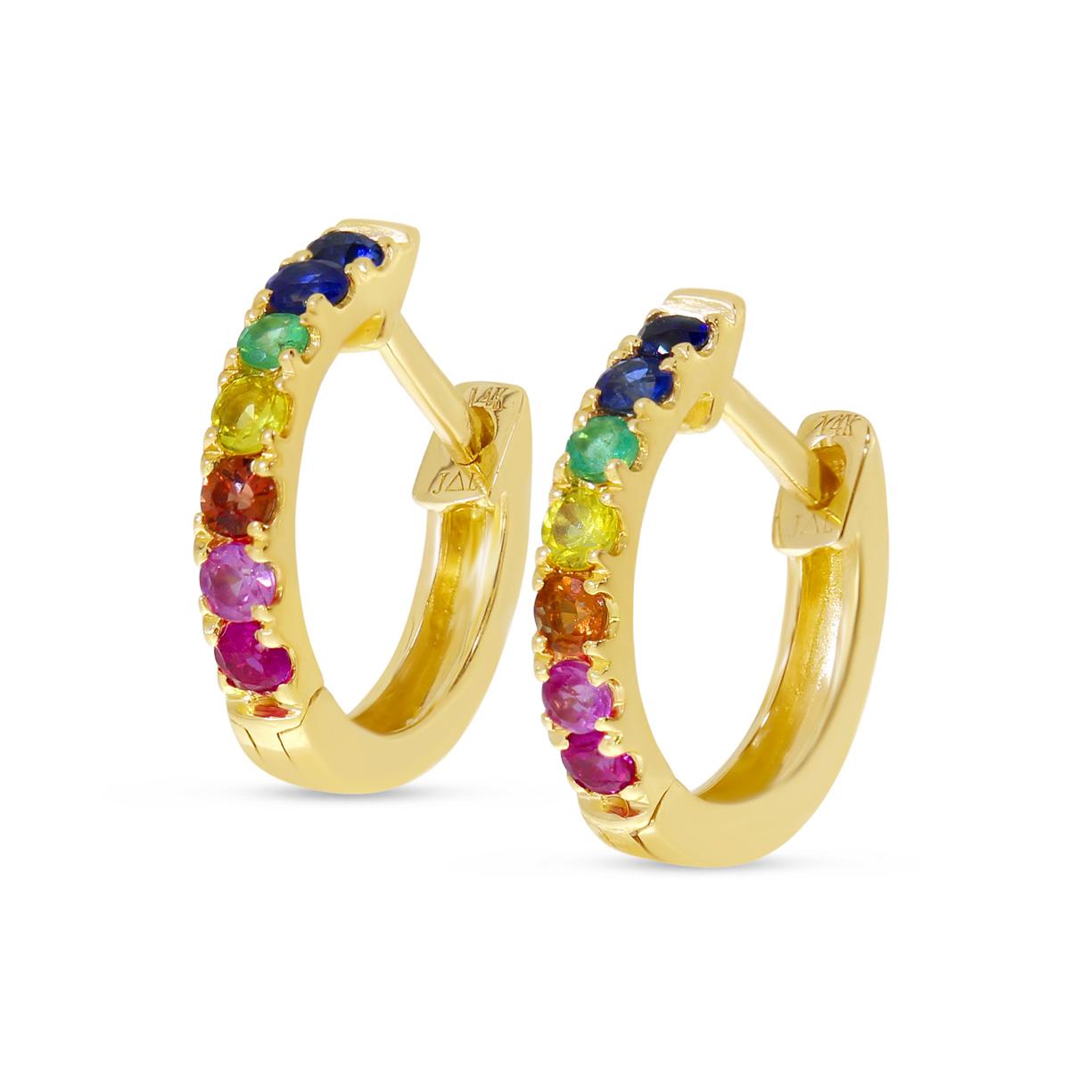 14K Yellow Gold Rainbow Sapphire Small Huggie Earrings
