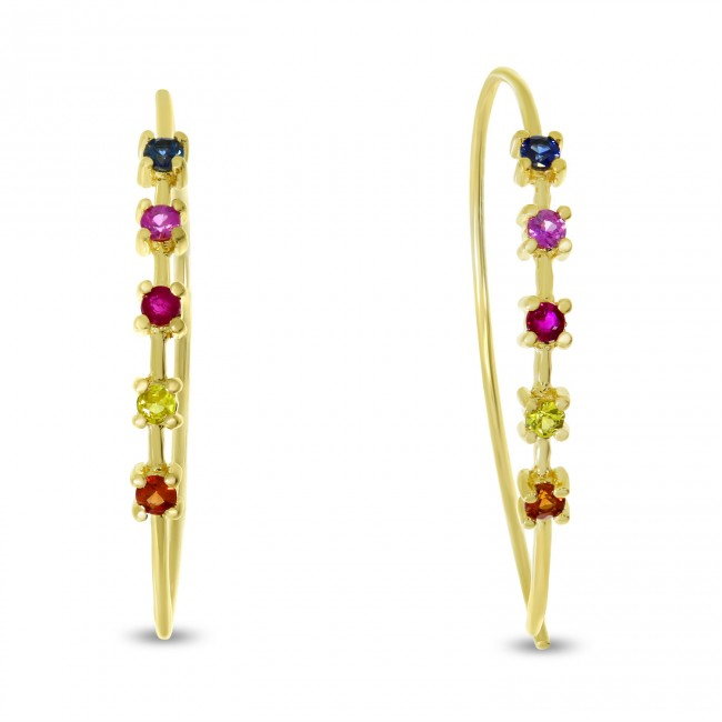 14K Yellow Gold Genuine Rainbow Sapphire Wire Earrings
