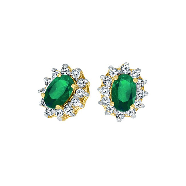 14K Yellow Gold Precious Oval Emerald and Diamond Earrings