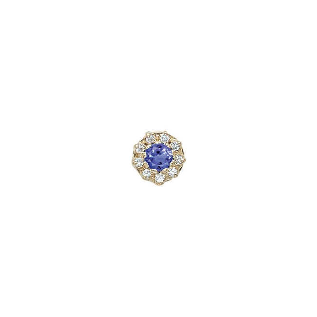 14 Karat Gold Slide with Tanzanite center and Diamond accents
