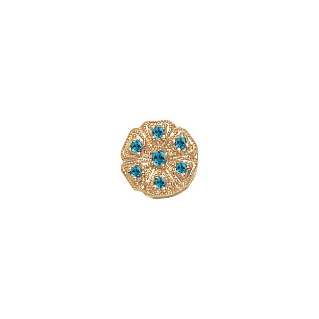 14 Karat Gold Blue Zircon Slide