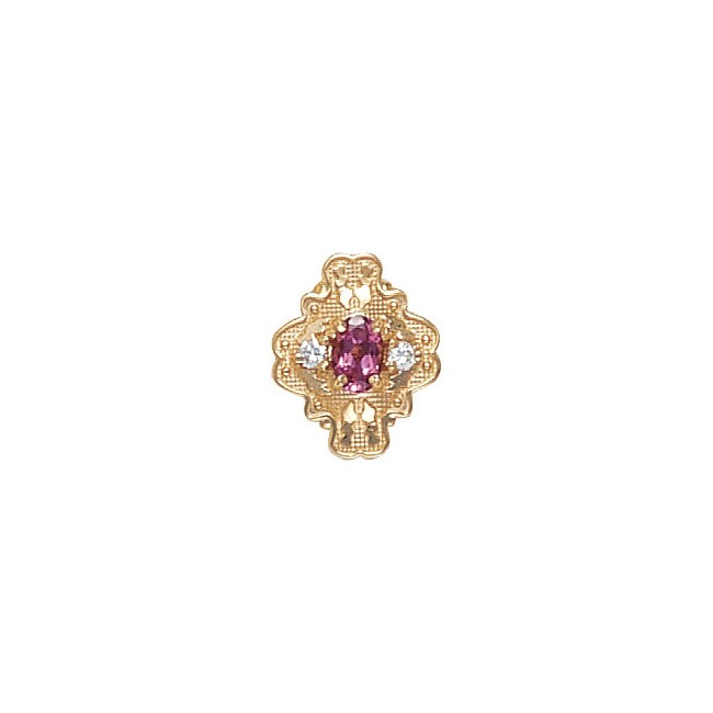 14 Karat Gold Slide with Pink Tourmaline center and Diamond accents