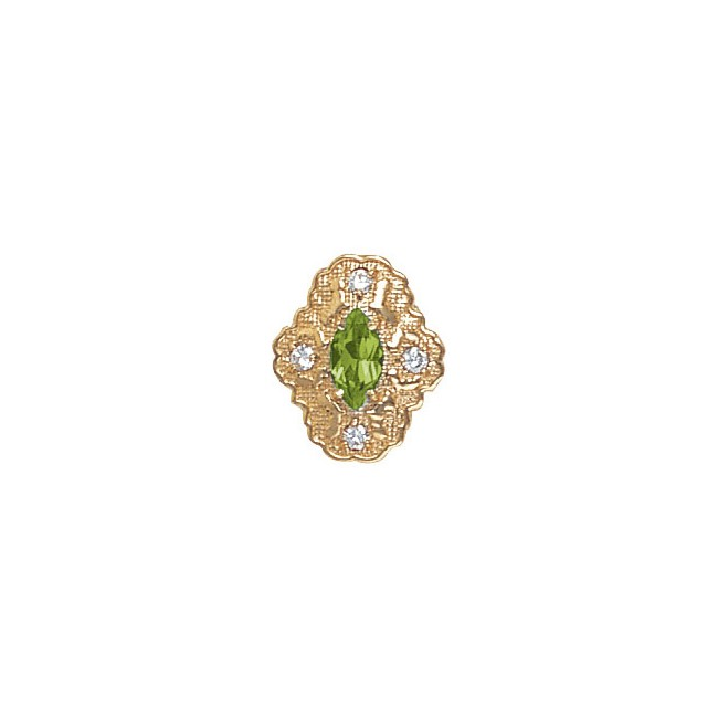 14 Karat Gold Slide with Peridot center and Diamond accents