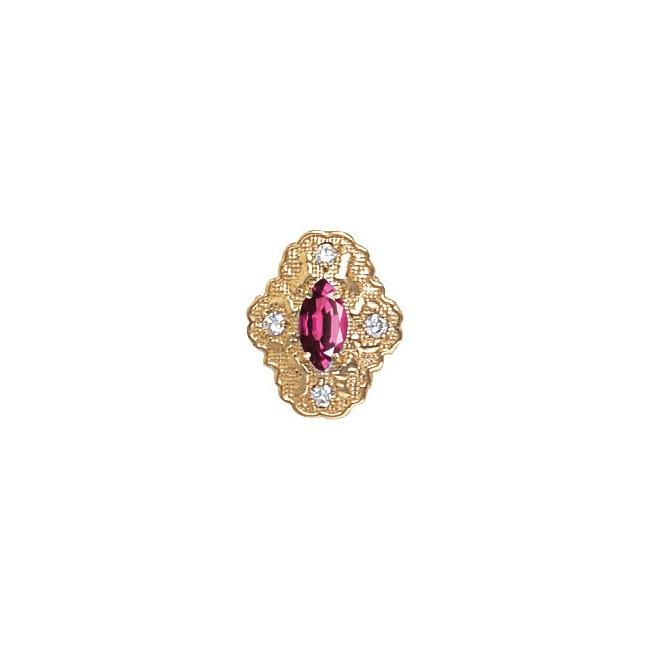 14 Karat Gold Slide with Rhodolite Garnet center and Diamond accents