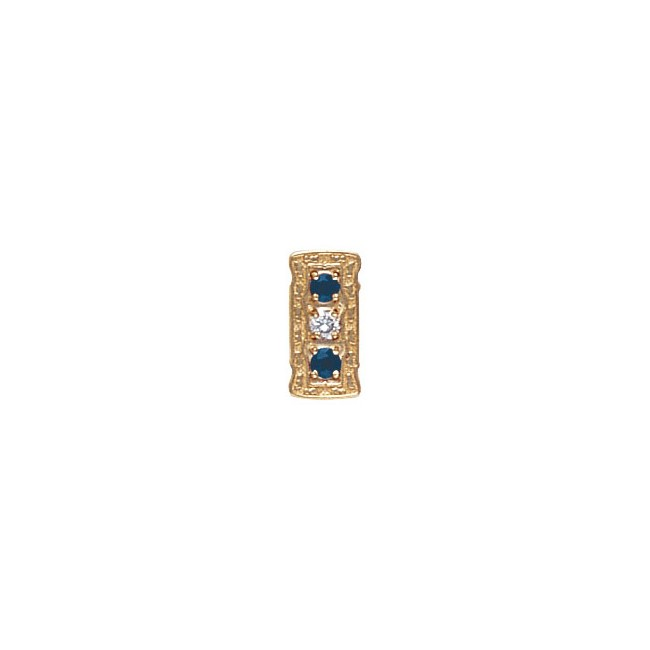 14 Karat Gold Slide with Diamond center and Sapphire accents