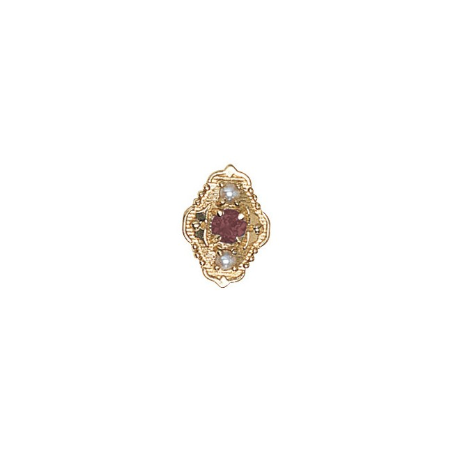 14 Karat Gold Slide with Pink Tourmaline center and Pearl accents