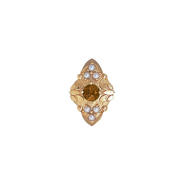 14 Karat Gold Slide with Citrine center and Pearl accents