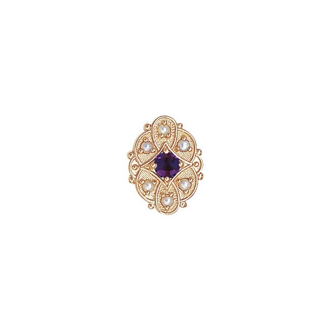 14 Karat Gold Slide with Amethyst center and Pearl accents