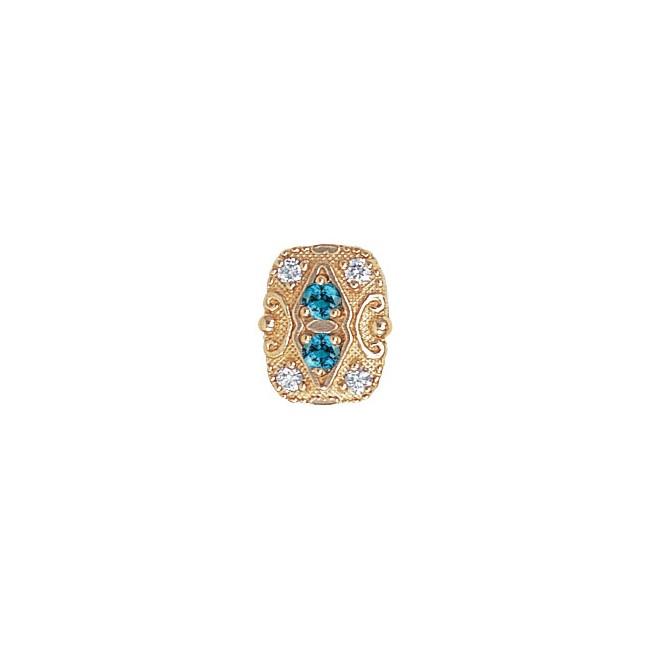 14 Karat Gold Slide with Blue Zircon center and Diamond accents