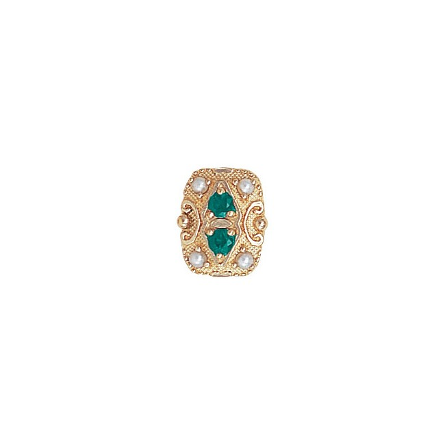 14 Karat Gold Slide with Emerald center and Pearl accents