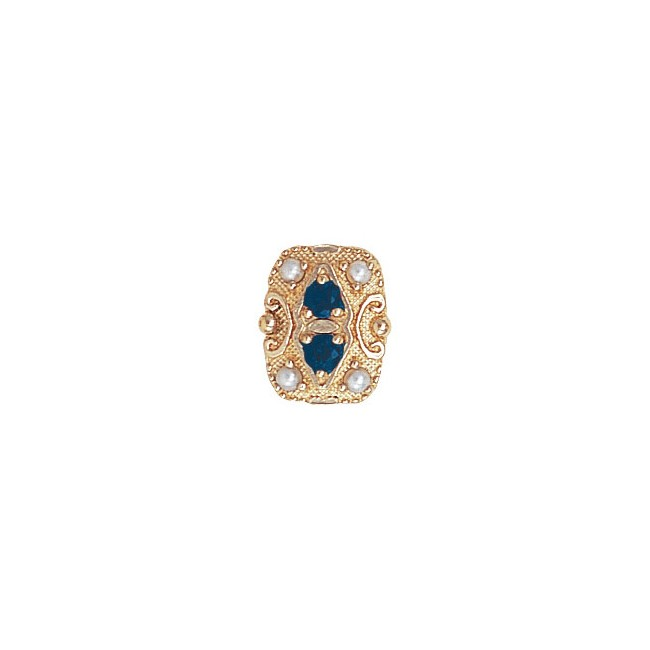 14 Karat Gold Slide with Sapphire center and Pearl accents