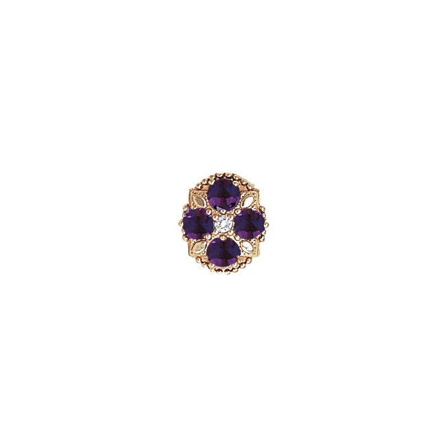 14 Karat Gold Slide with Diamond center and Amethyst accents