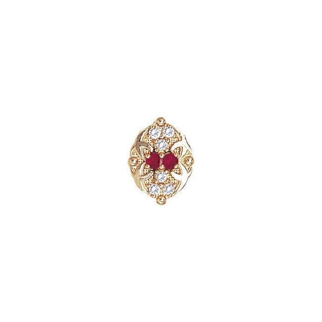 14 Karat Gold Slide with Ruby center and Diamond accents