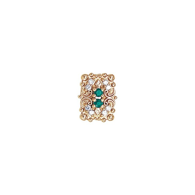 14 Karat Gold Slide with Emerald center and Diamond accents