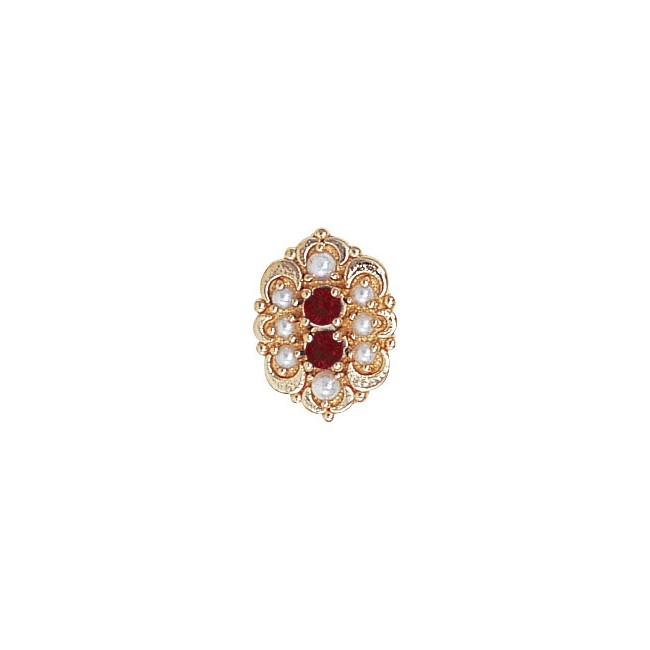 14 Karat Gold Slide with Garnet center and Pearl and Pearl accents