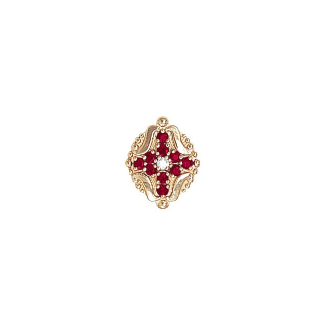 14 Karat Gold Slide with Diamond center and Ruby accents
