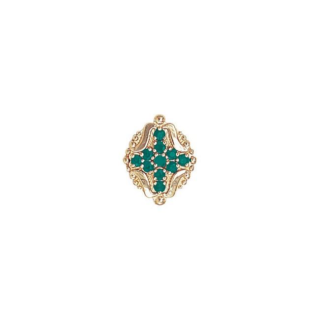 14 Karat Gold Emerald Slide