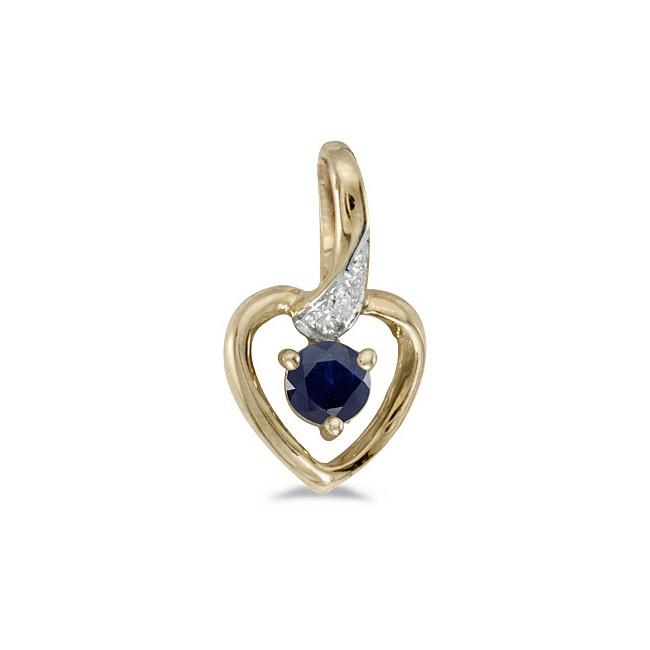 10k Yellow Gold Round Sapphire And Diamond Heart Pendant