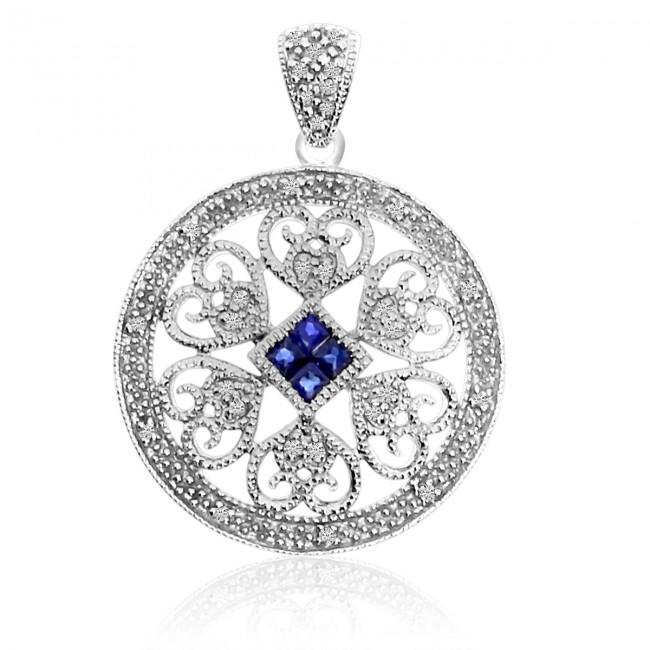 14K White Gold Precious Sapphire and Diamond Round Filigree Pendant