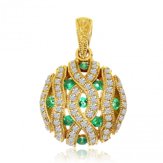 14K Yellow Gold Pave Emerald and Diamond Round Precious Pendant