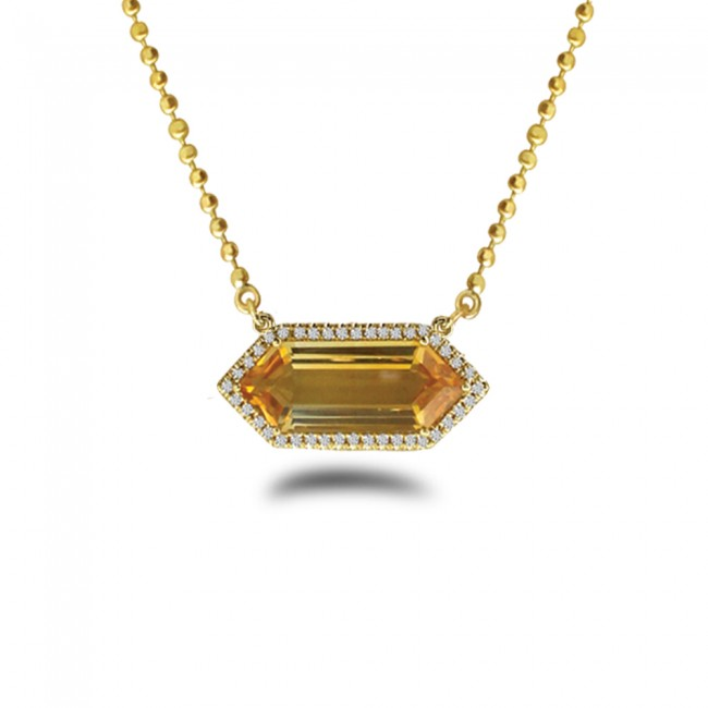14K Yellow Gold Hexagon Citrine and Diamond Semi Precious 18 inch Bead Chain Necklace