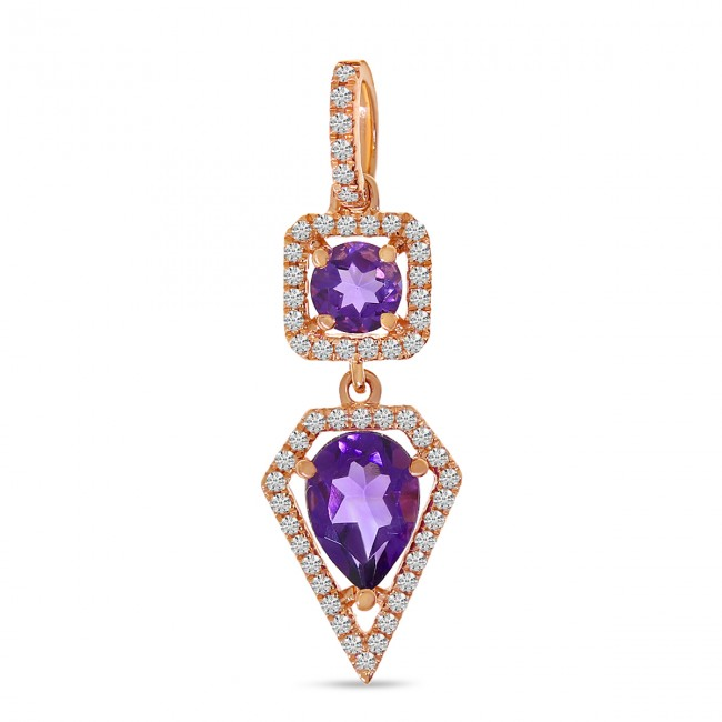 14K Rose Gold Oval and Pear Shape Amethyst Two Piece Semi Precious and Diamond Pendant