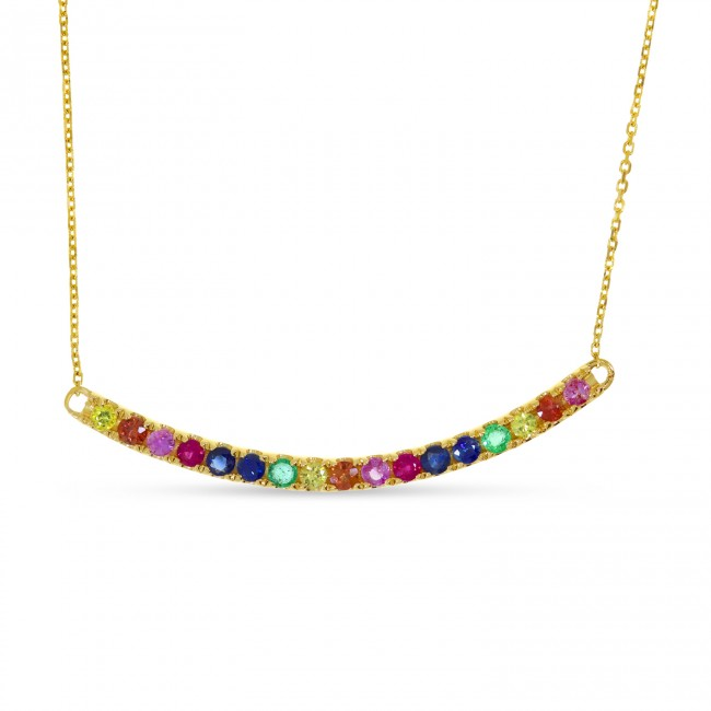 14K Yellow Gold Genuine Rainbow Sapphire Bar 18 inch Necklace