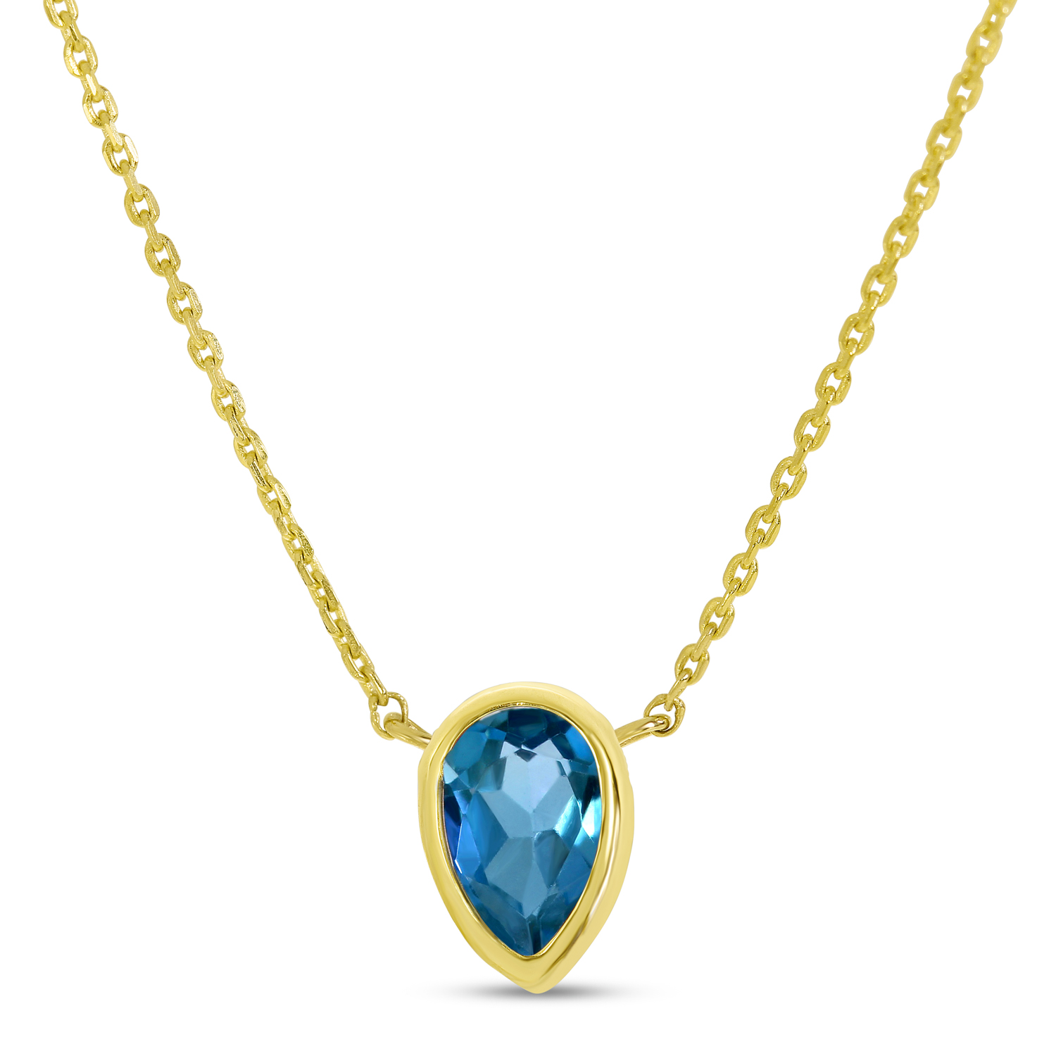 14K Yellow Gold Pear Blue Topaz Birthstone Necklace