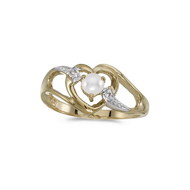 10k Yellow Gold Pearl And Diamond Heart Ring