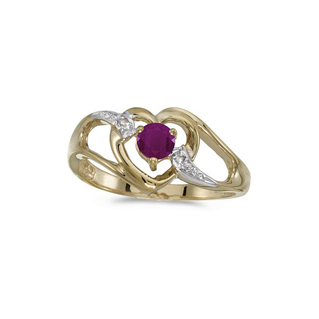 10k Yellow Gold Round Ruby And Diamond Heart Ring