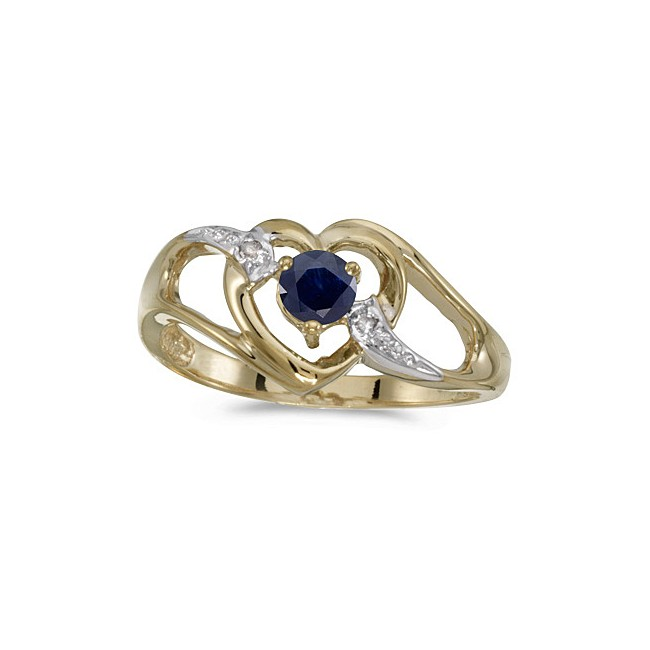 14k Yellow Gold Round Sapphire And Diamond Heart Ring