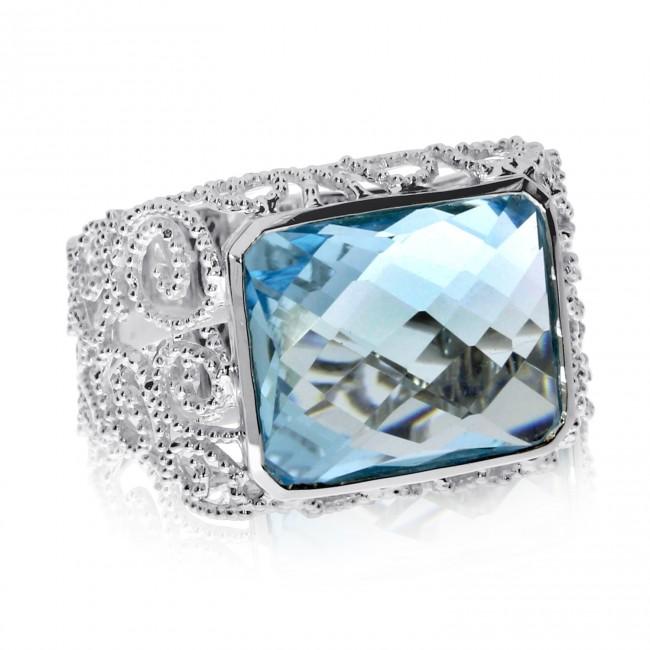 14K White Gold Large 12x15 mm Octagon Blue Topaz Semi Precious Fashion Ring