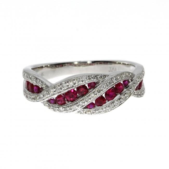 14K White Gold Ruby and Diamond Fashion Euro Shank Precious Ring