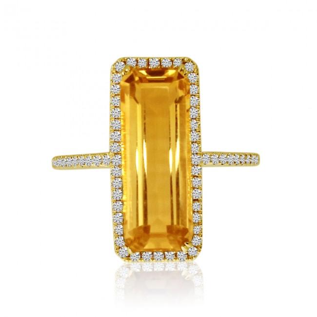 14K Yellow Gold Long Octagon Citrine and Diamond Semi Precious Ring