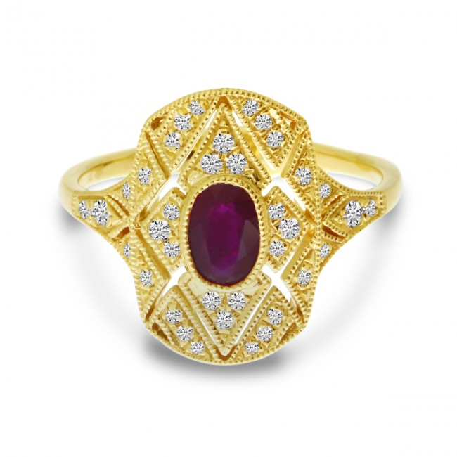 14K Yellow Gold Oval Ruby and Diamond Art Deco Rectangular Ring