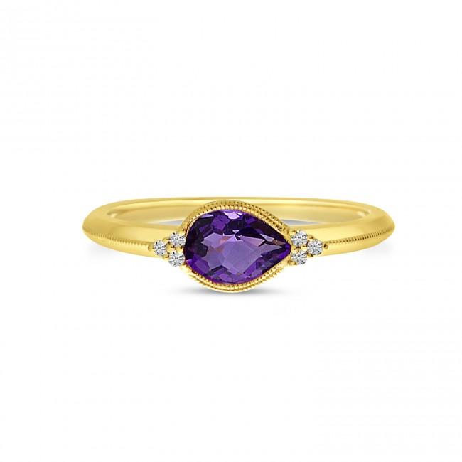 14K Yellow Gold Pear Amethyst East West Semi Precious Ring