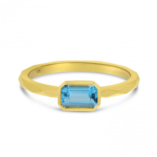 14K Yellow Gold Octagon Blue Topaz East West Semi Precious Ring