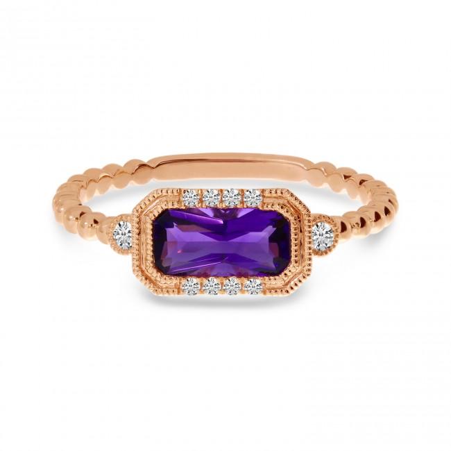 14K Rose Gold Octagon Amethyst and Diamond Semi Precious Ball Band Ring