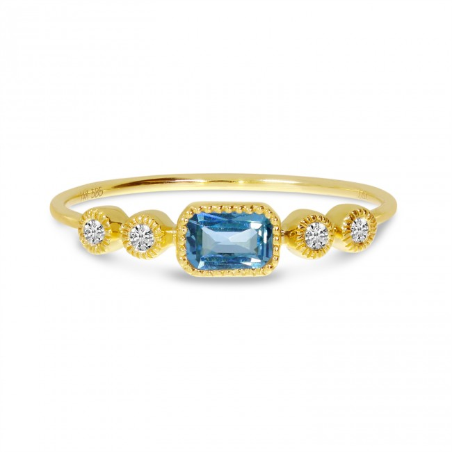 14K Yellow Gold Octagon Blue Topaz and Diamond Stackable Semi Precious Ring