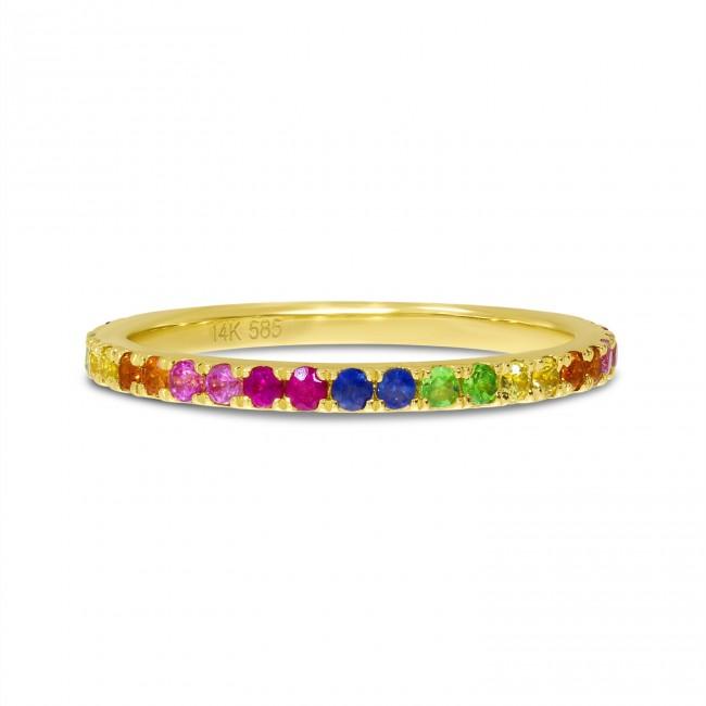 14K Yellow Gold Genuine Rainbow Sapphire Band