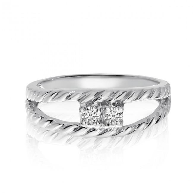 14K White Gold Two Stone Diamond .12 Ct Braided Ring
