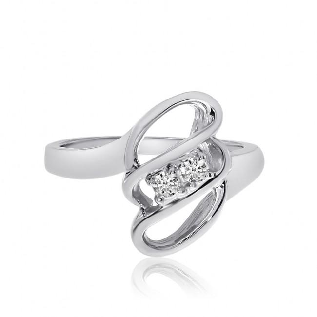 14K White Gold Two Stone Diamond .12 Ct 3 Row Swirl Ring