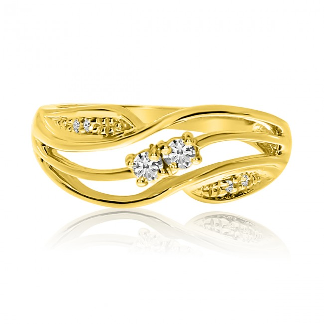 14K Yellow Gold Two Stone Diamond .13 Ct Swirl Ring