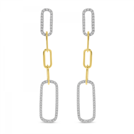 14K Yellow Gold Diamond Paperclip Link Long Earrings